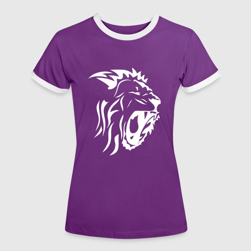 tribal lion gueule rugit3 - Camiseta contraste mujer