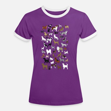 Pixelated Dogs many dogs pixel - Women's Ringer T-Shirt