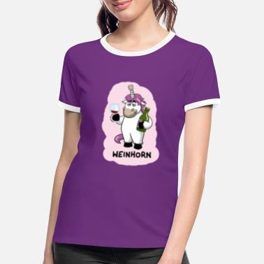 Party Weinhorn Einhorn - Frauen Ringer T-Shirt