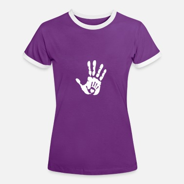 Heart Hands Baby Hand in Hand with Heart - Women's Ringer T-Shirt