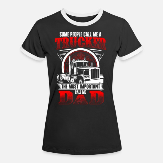 Dad T-shirts - Trucker Dad - EN - Kontrast T-shirt dam svart/vit