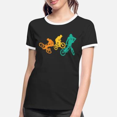 Over The Hill Retro BMX Cyclist Race Bicycle Tricks Stunts - Women's Ringer T-Shirt