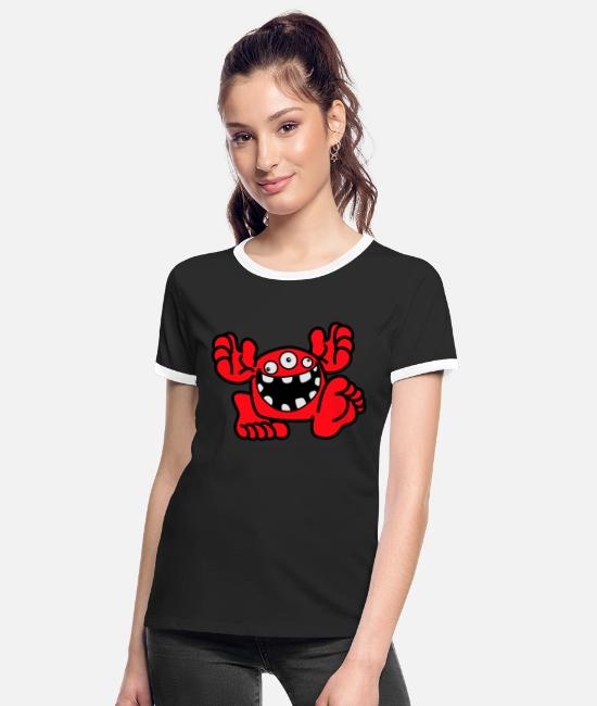 Art T-Shirts - Proud To Be A Monster Cartoon by Cheerful Madness! - Women's Ringer T-Shirt black/white