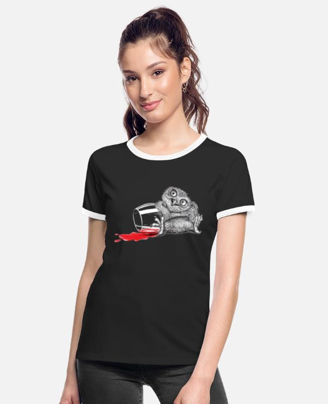 Oehoe T-shirts - Tipsy Uil - Vrouwen ringer T-Shirt zwart/wit