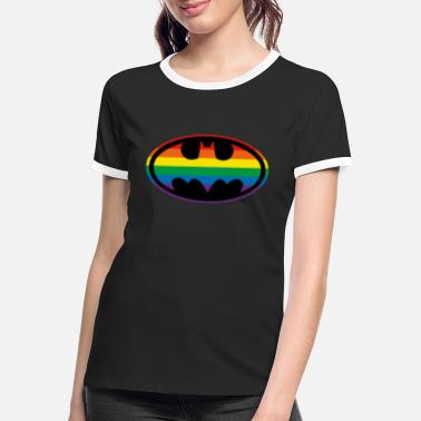 Justice League Batman Regenbogen Logo - Frauen Ringer T-Shirt