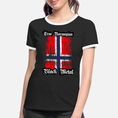 Black Metal Trve/ True Norwegian Black Metal - Frauen Ringer T-Shirt