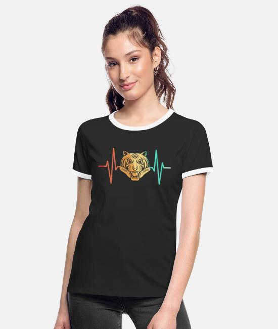 Indochinese T-Shirts - Tiger big cat predator heartbeat - Women's Ringer T-Shirt black/white