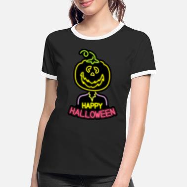 Neon Halloween Pumpkin Neon Zombie Happy Party Monster - Women's Ringer T-Shirt