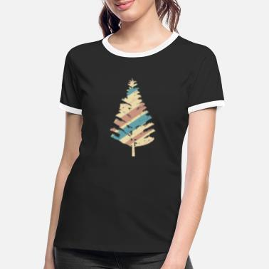 Nationalpark Vintage juletræ illustration skov natur - Kontrast T-shirt dame
