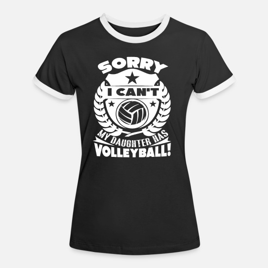 Volleyball T-shirts - Volleyball Min datter har volleyball - Kontrast T-shirt dame sort/hvid