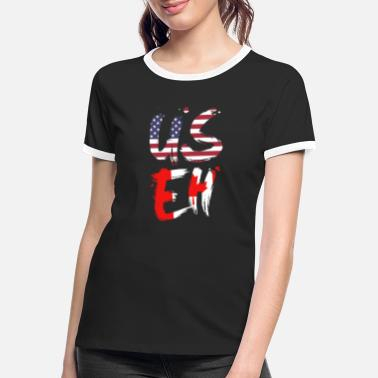 Us USEH America Canada Flag Funny American Canadian - Women's Ringer T-Shirt