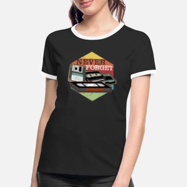 Never forget VHS, Floppy Disc and Cassette Tapes - Women's Ringer T-Shirt