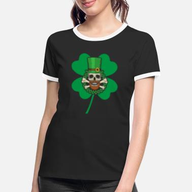 Grappige Ierse Patrick's Day Skull Groen - Vrouwen ringer T-Shirt