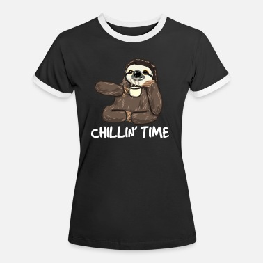 Sloth Sloth Coffee Chilling Fun Caffeine Gift - Women's Ringer T-Shirt