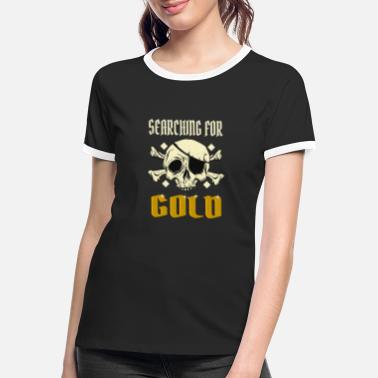 Jolly Roger Pirate / Pirate Ship searching for gold - Frauen Ringer T-Shirt