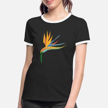 Perroquet Strelizia tropicale, illustration - T-shirt contrasté Femme