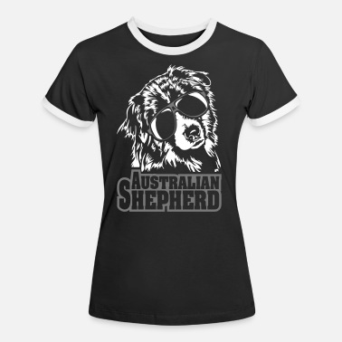 Australian AUSTRALIAN SHEPHERD cool dogs dog Wilsigns - Women's Ringer T-Shirt