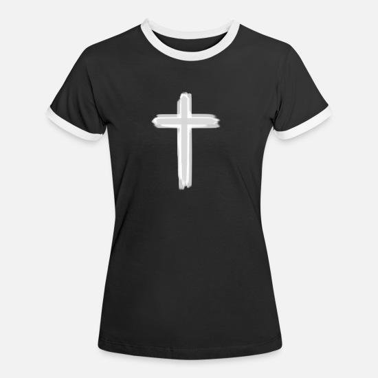 Vatikan T-Shirts - Cross grey white - Frauen Ringer T-Shirt Schwarz/Weiß