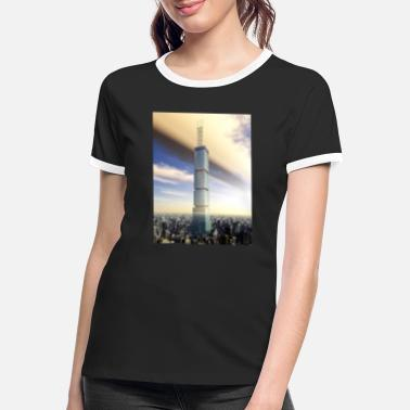 Megacity Huge skyscraper in a megacity - Women's Ringer T-Shirt
