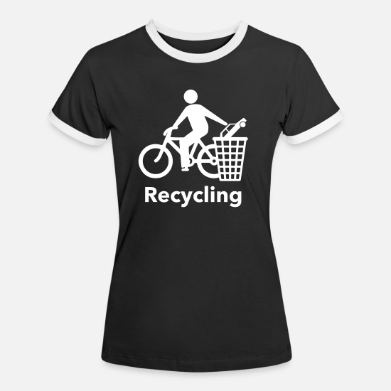 Bike Messenger T-Shirts - Recycling - Women's Ringer T-Shirt black/white