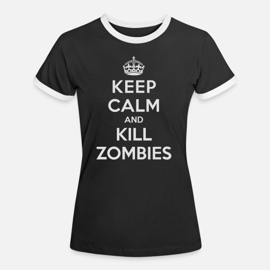 Walking T-skjorter - Keep calm and kill zombies - Kontrast T-skjorte for kvinner svart/hvit
