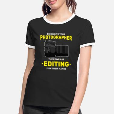 Photo Montage Photographer camera SLR photo montage editor - Women's Ringer T-Shirt