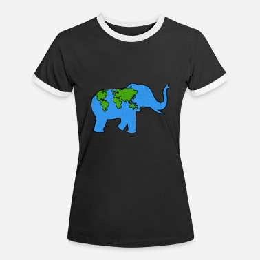 Earth Day Elephant Animal Earthday Gift - Women's Ringer T-Shirt