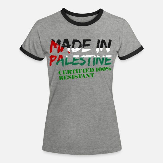 Gaza T-Shirts - Palestine Resistant - Women's Ringer T-Shirt heather grey/black