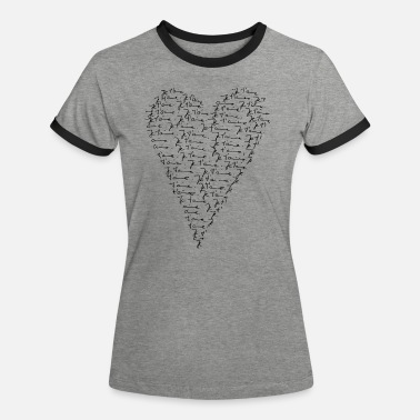 Amour Je t`aime! Heart, Forever Love, Valentine's Day, - T-shirt contrasté Femme