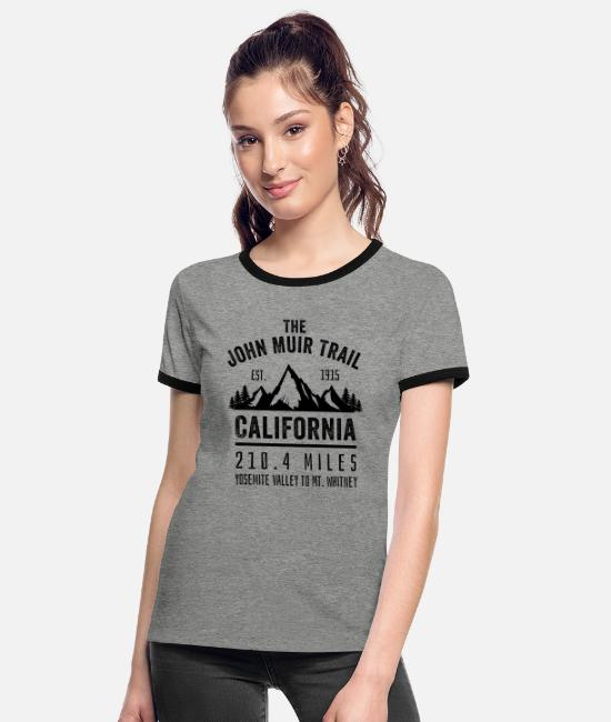 John Muir Trail T-Shirts - The John Muir Trail JMT - Women's Ringer T-Shirt heather grey/black