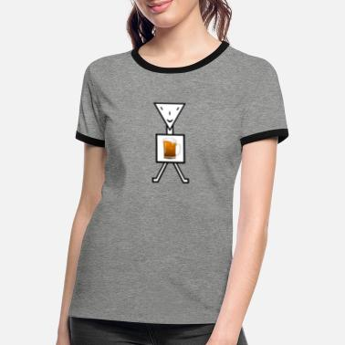 Stick Figure Stick figure with beer - Women's Ringer T-Shirt