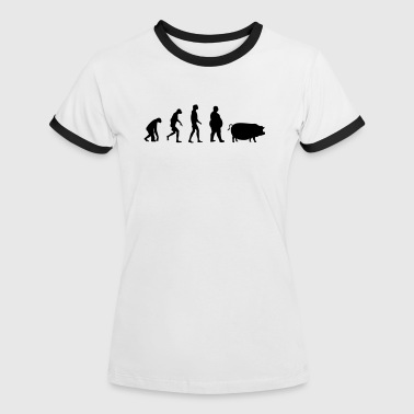 Evolution from ape to man to pig - Women's Ringer T-Shirt