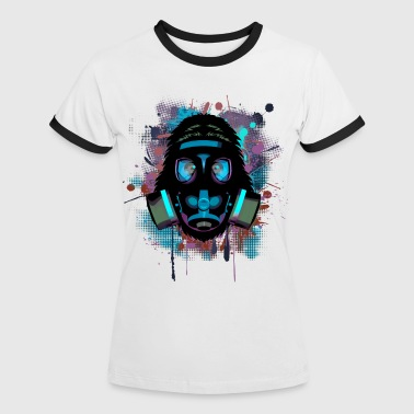 Urban Monkey with Gas mask Fallout - Women's Ringer T-Shirt
