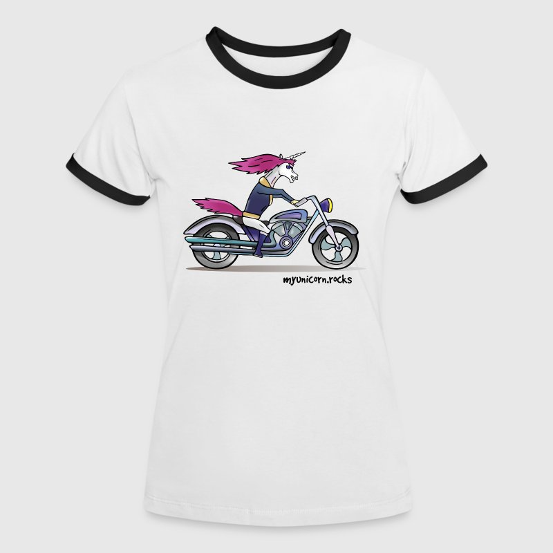 Badass motorcycle unicorn - myunicorn.rocks - Frauen Kontrast-T-Shirt