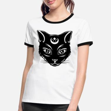 Moon Sign Luna - black cat with moon sign - Women's Ringer T-Shirt