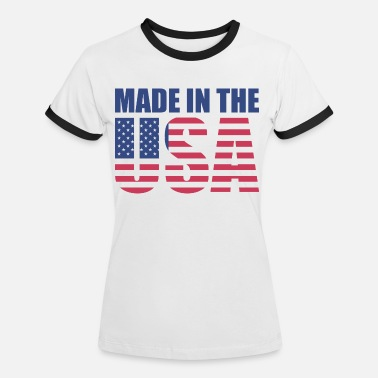 Made In Usa USA America Flag Stars and Stripes Made in USA - Vrouwen ringer T-Shirt