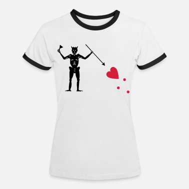 Piratenflagge von Blackbeard (Edward Teach) - Frauen Ringer T-Shirt
