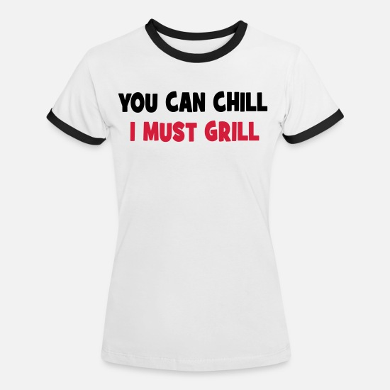 Grill T-Shirts - grill - Women's Ringer T-Shirt white/black