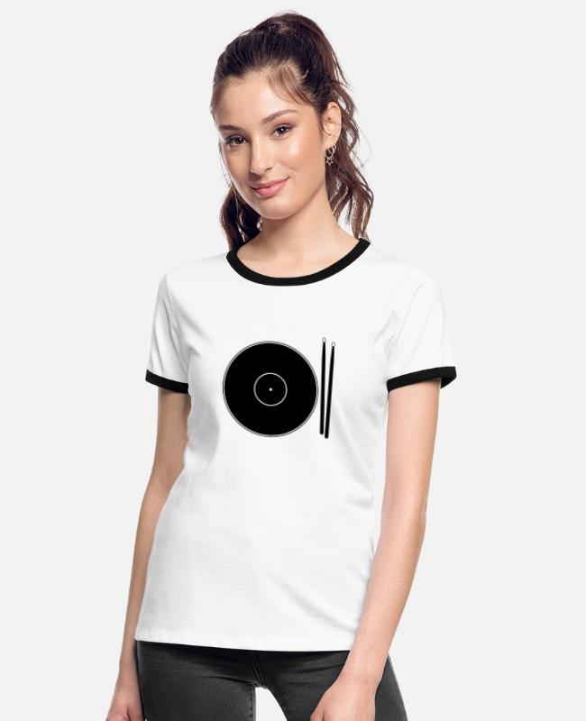 Pop T-Shirts - Drums Cymbals Food Black - Women's Ringer T-Shirt white/black