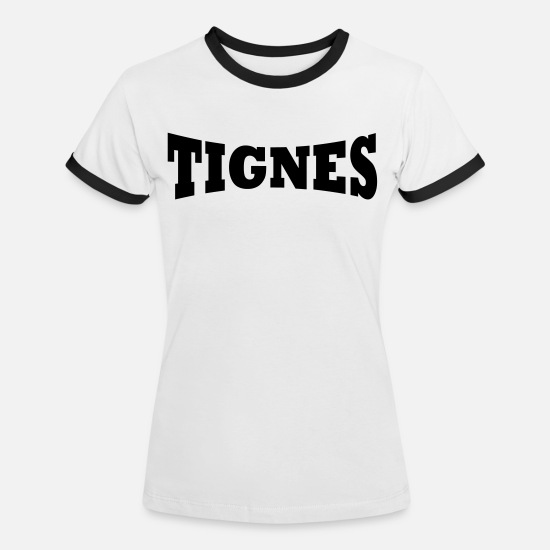 Ski T-Shirts - Tignes ski resort - Women's Ringer T-Shirt white/black