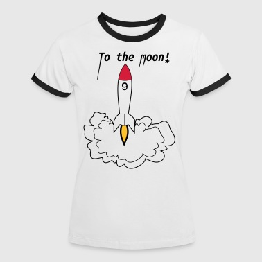 Rakete To the Moon - Dame kontrast-T-shirt