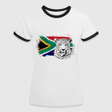 Leopard - South Africa Flag  - Frauen Kontrast-T-Shirt
