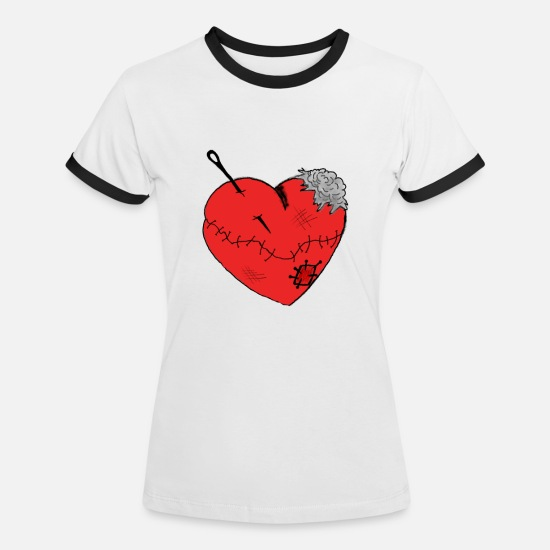 Love T-Shirts - Heartache Heart Love Scars Wounds Injured - Women's Ringer T-Shirt white/black