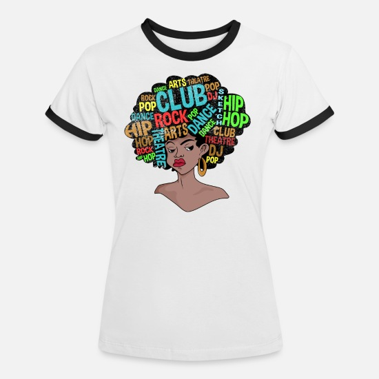 70s T-Shirts - Afro Retro Disco 70s Shirt - Women's Ringer T-Shirt white/black