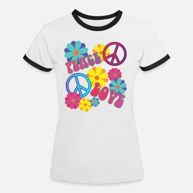 Flower Power älskar fred hippie flower power - Kontrast T-shirt dam