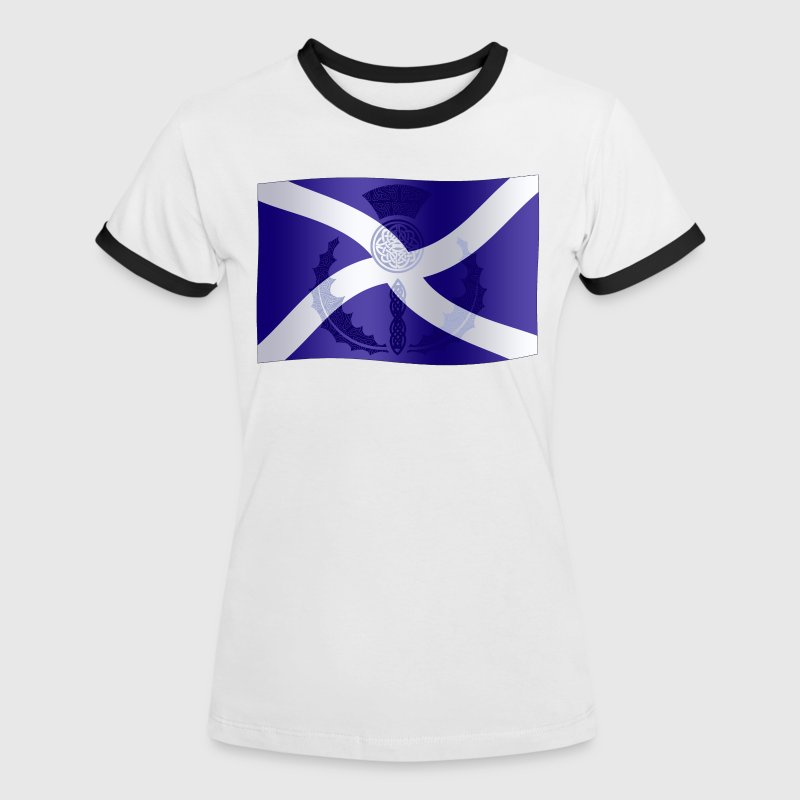 Scottish Saltire Flag with Celtic Thistle - Women's Ringer T-Shirt