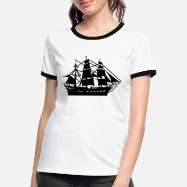 Pirate Ship pirate ship boat pirate pirate ship ship skull1 - Women's Ringer T-Shirt