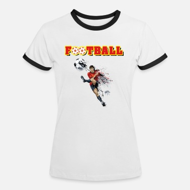 super football player kick red yellow - Women's Ringer T-Shirt