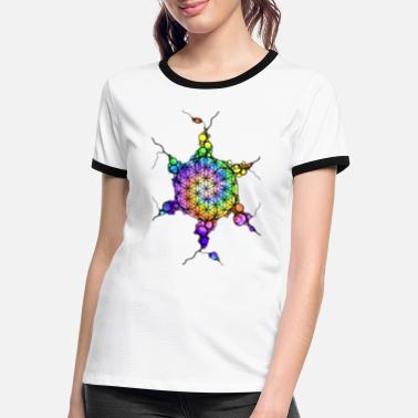 Esoterik Flower Of Life Neuro Art 3 - Frauen Ringer T-Shirt