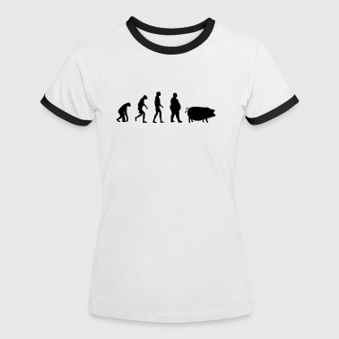 Evolution Of The Pig  Evolution from ape to man to pig - Women's Ringer T-Shirt
